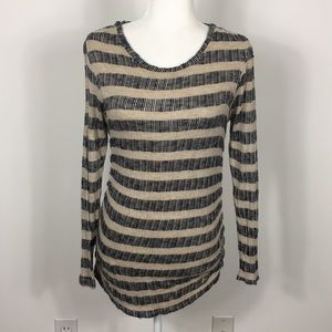 Puella Tan and Navy Striped Long Sleeve Top